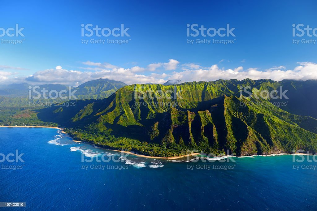 Aerial view of spectacular Na Pali Coast stock photo