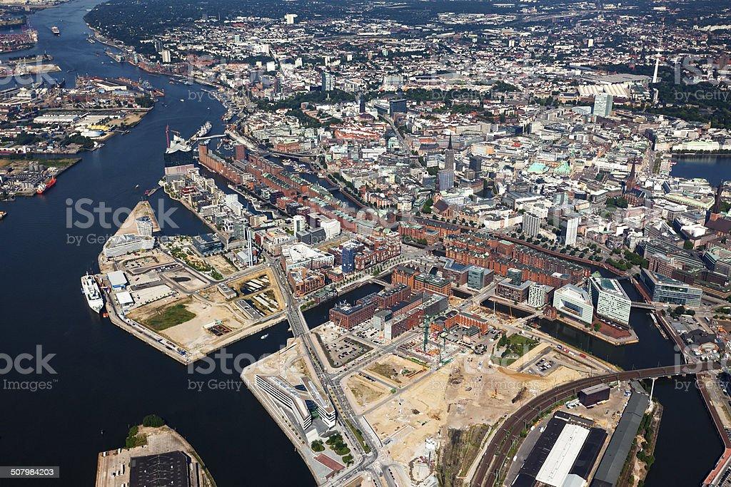 Aerial view of Speicherstadt and Hafencity quarters at Hamburg stock photo