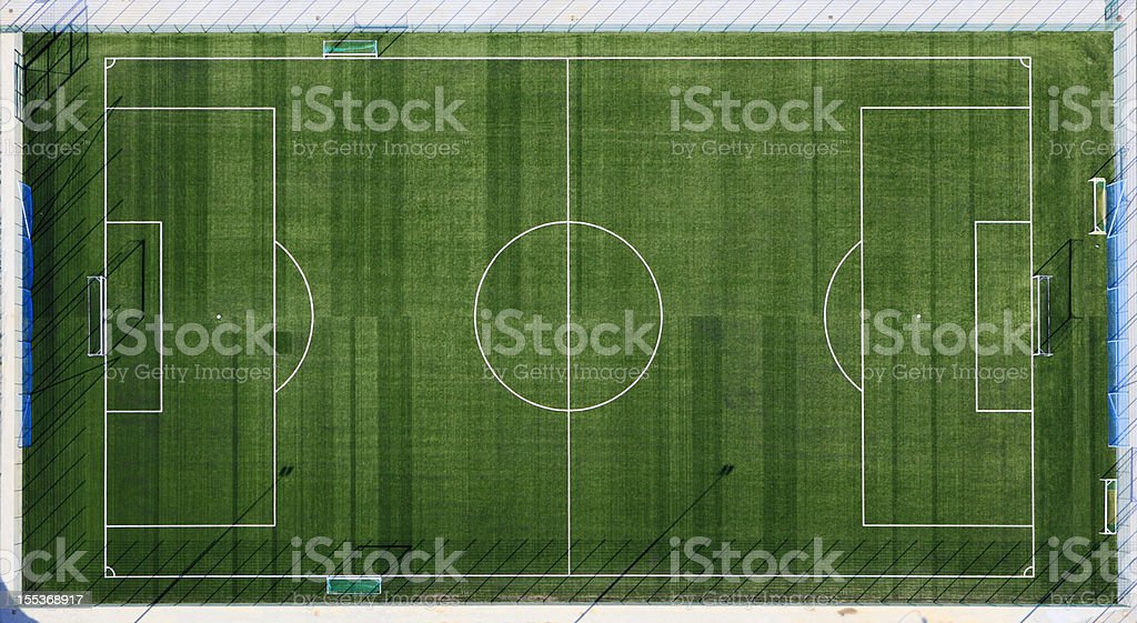 Aerial view of sports field with white markings stock photo