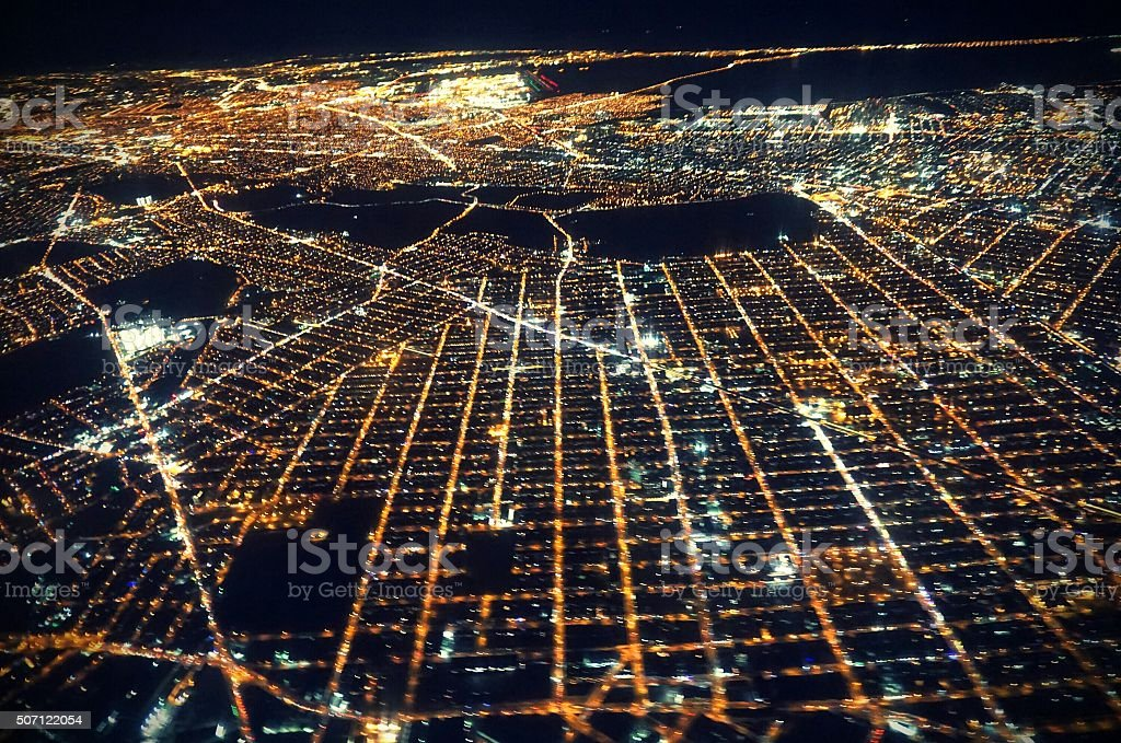 Aerial View of Sprawling NYC Grid Lights, NY at Sunrise stock photo
