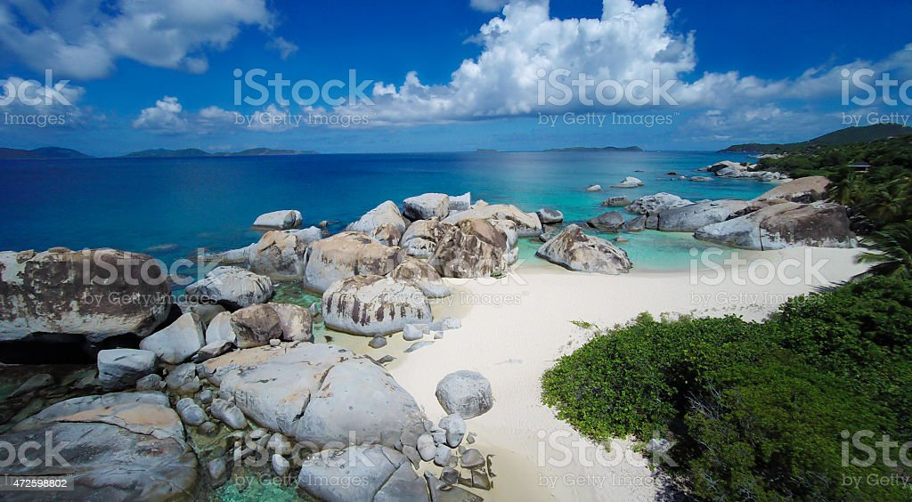 aerial view of Spring Bay in Virgin Gorda, BVI stock photo