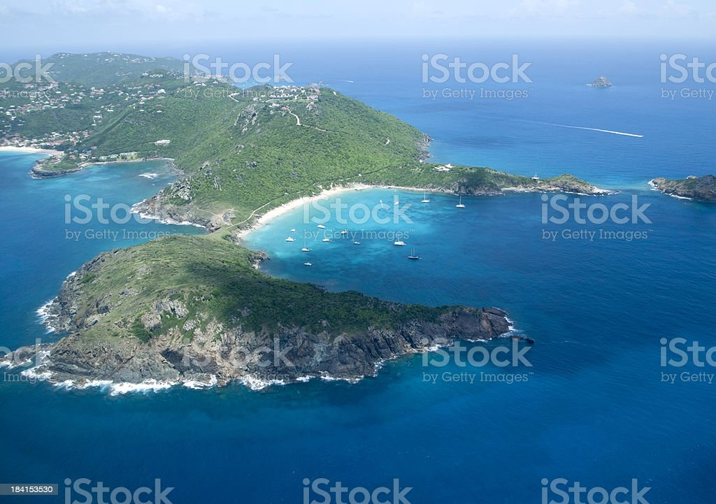 Aerial view of St Barts royalty-free stock photo