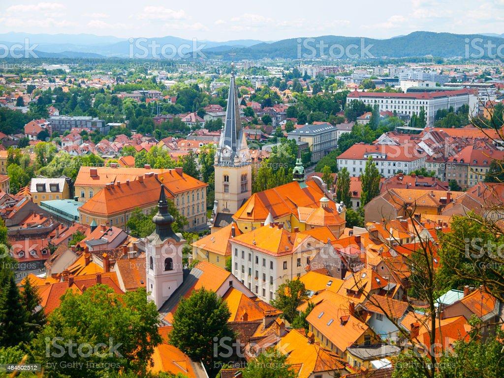 Aerial view of St. James Church in Ljubljana stock photo