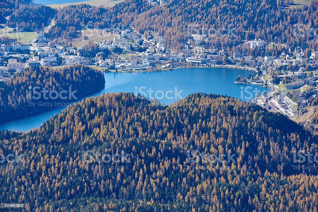 Aerial View of St. Moritz stock photo