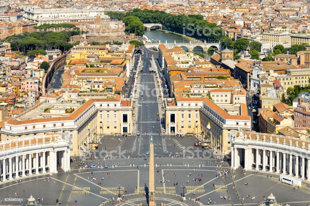 Aerial view of St. Peters Square in The Vatican stock photo