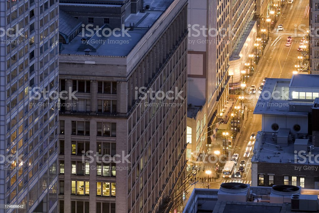 Aerial View of State Street in Chicago royalty-free stock photo
