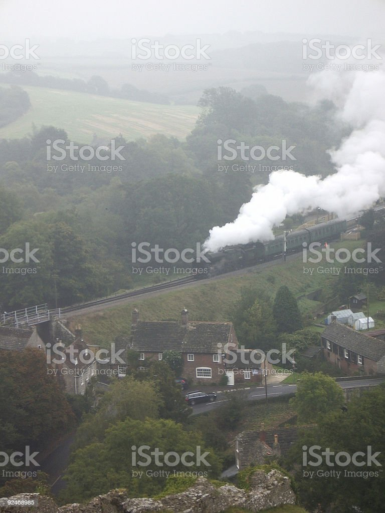 Aerial view of steam train royalty-free stock photo