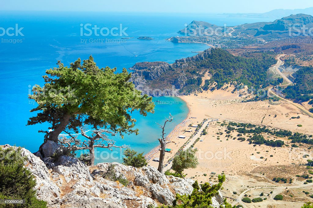 Aerial view of Stegna Beach at Rhodes island in Greece stock photo