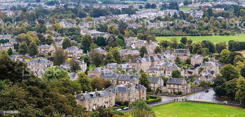 Aerial view of Stirling Old Town, Scotland stock photo
