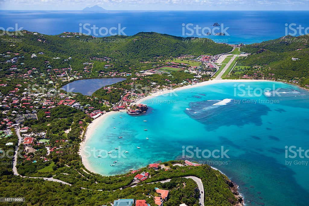 aerial view of St.Jean Bay, St. Barths, FWI stock photo