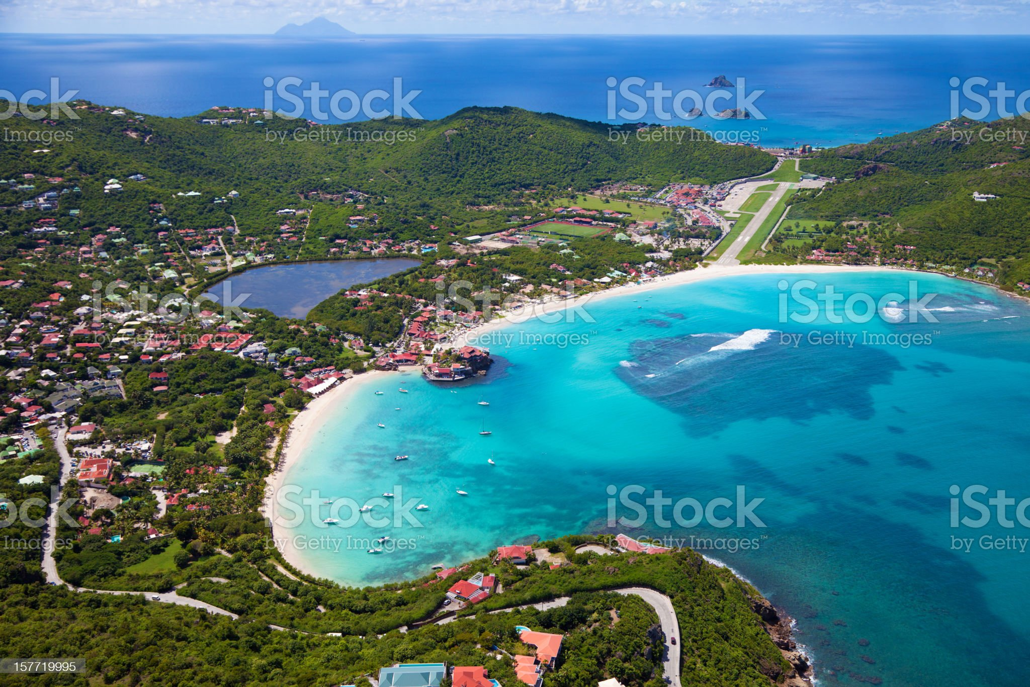 aerial view of St.Jean Bay, St. Barths, FWI royalty-free stock photo