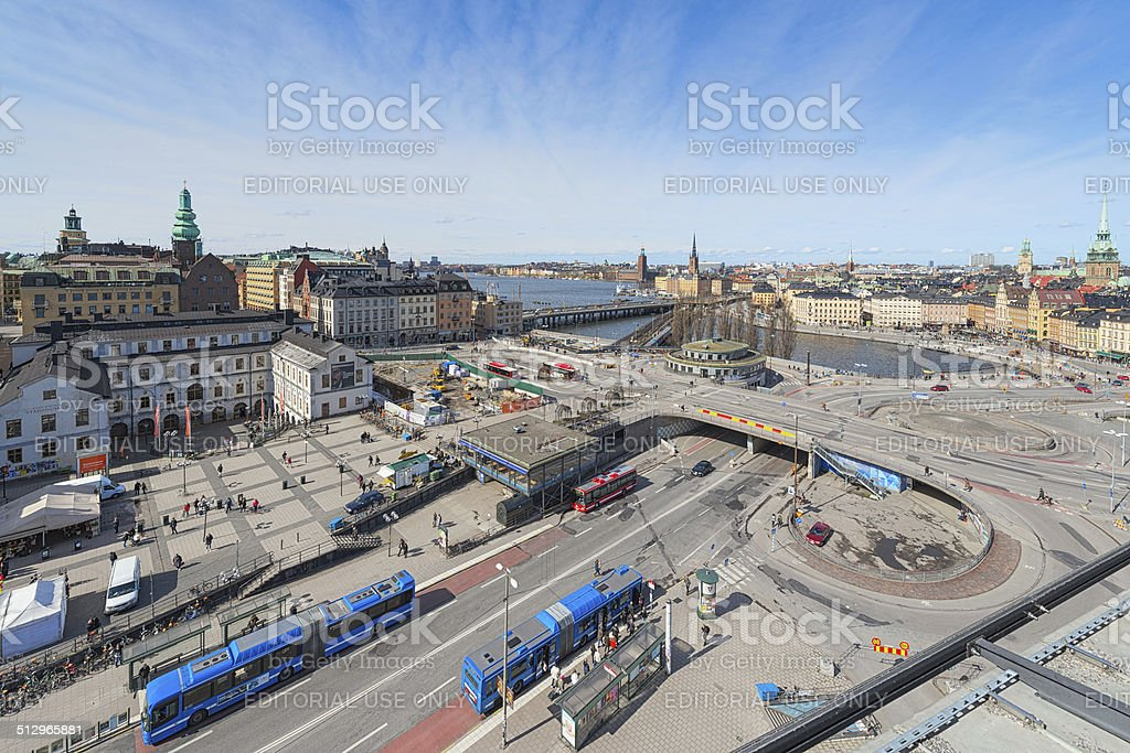 Aerial view of Stockholm and Slussen from Katarina Elevator stock photo