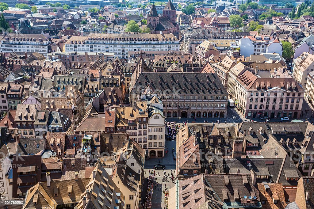 Aerial view of Strasbourg stock photo