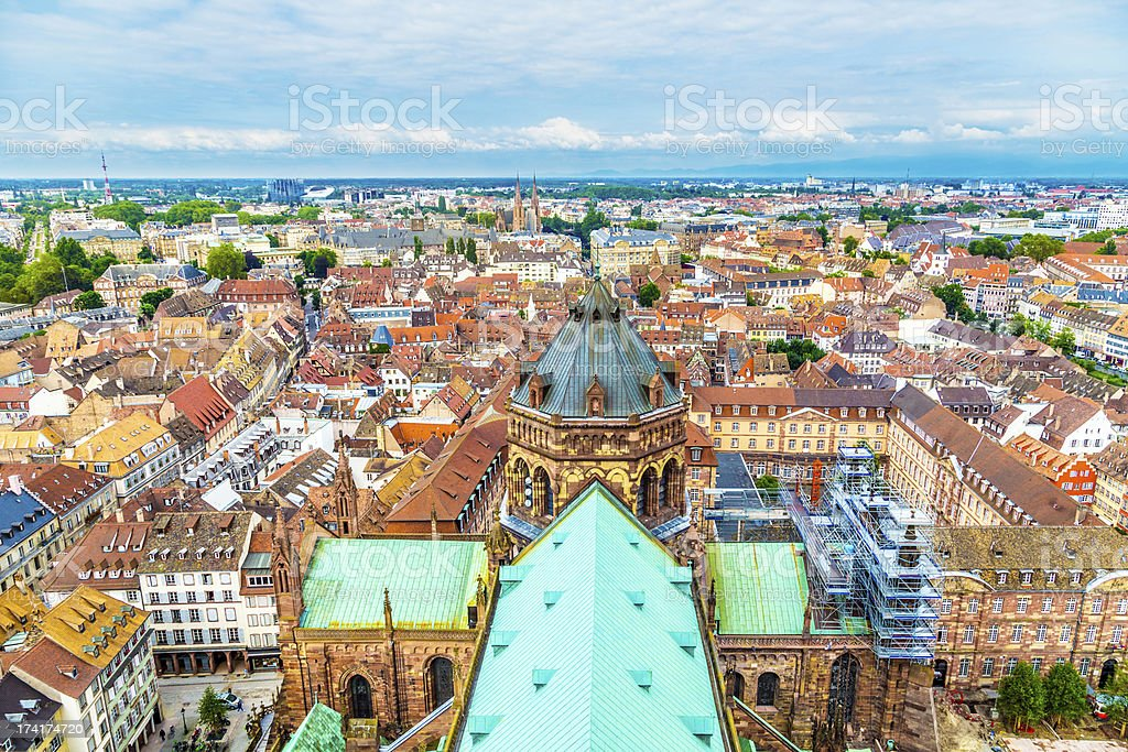 aerial view of Strasbourg  to the old city royalty-free stock photo