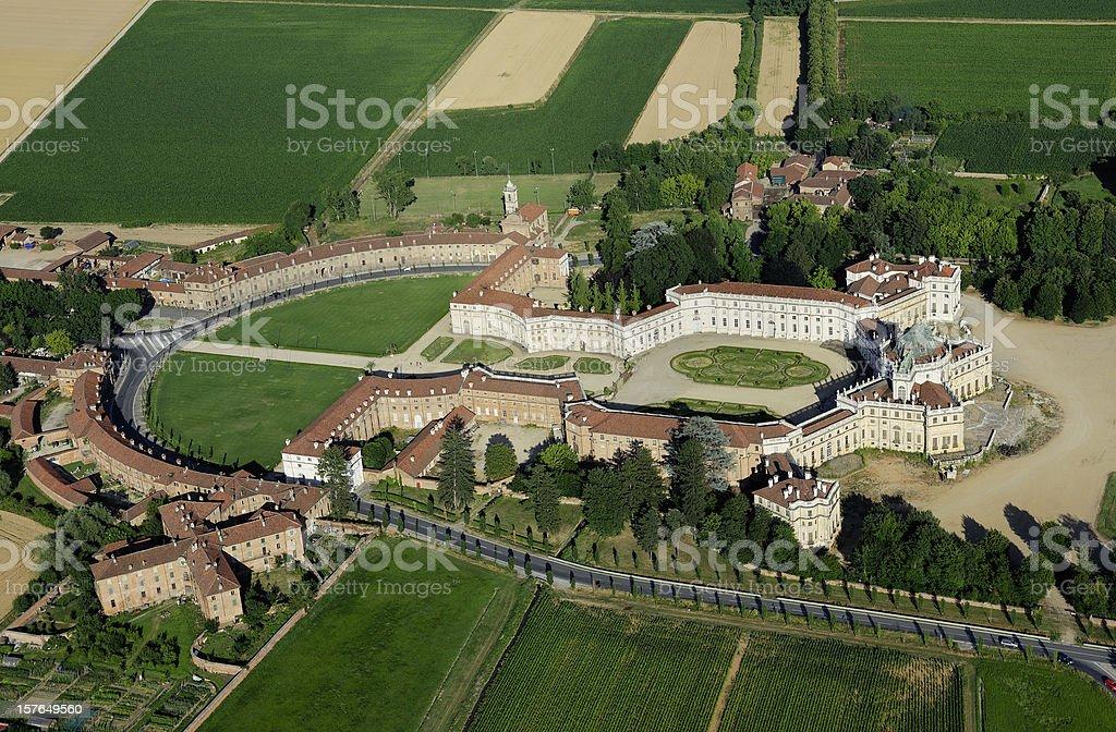 Aerial view of Stupinigi palace, sunny day, Turin, Piedmont royalty-free stock photo