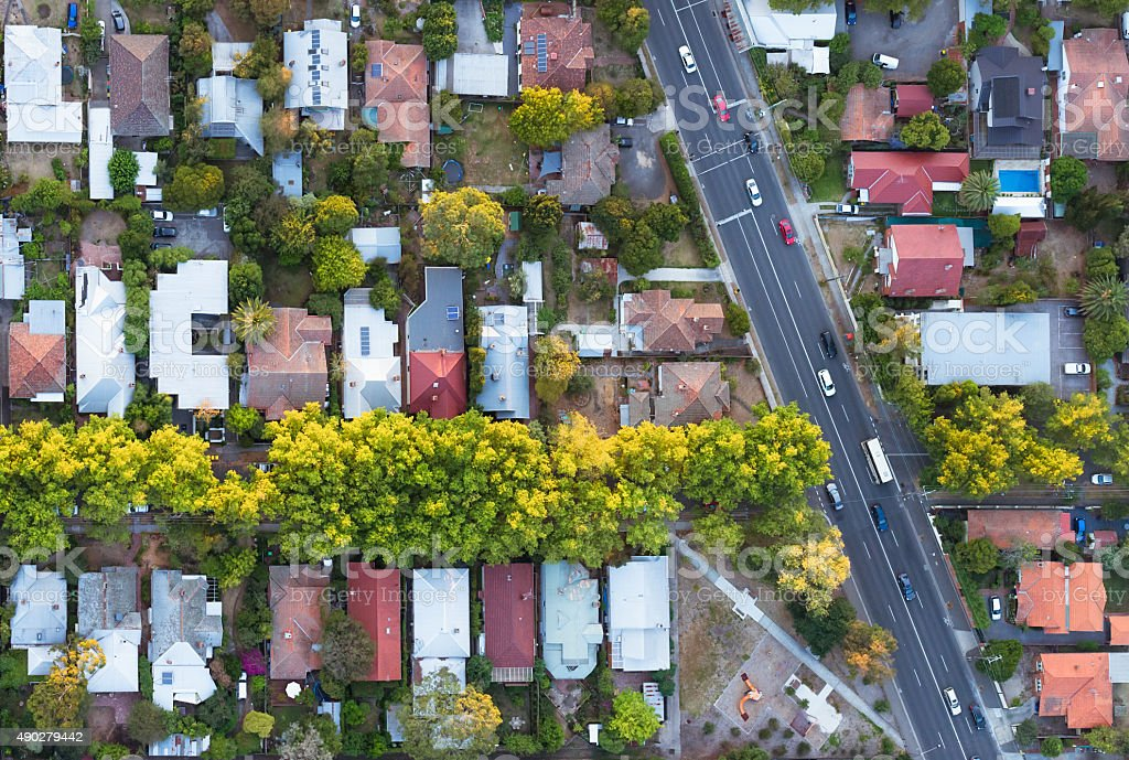 Aerial View of Suburb stock photo