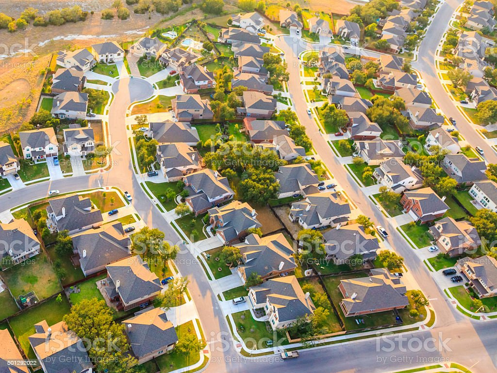 aerial view of suburban Austin Texas stock photo