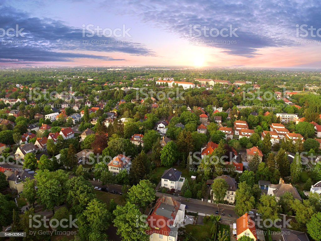 Aerial View of suburban Houses in sunset - germany stock photo