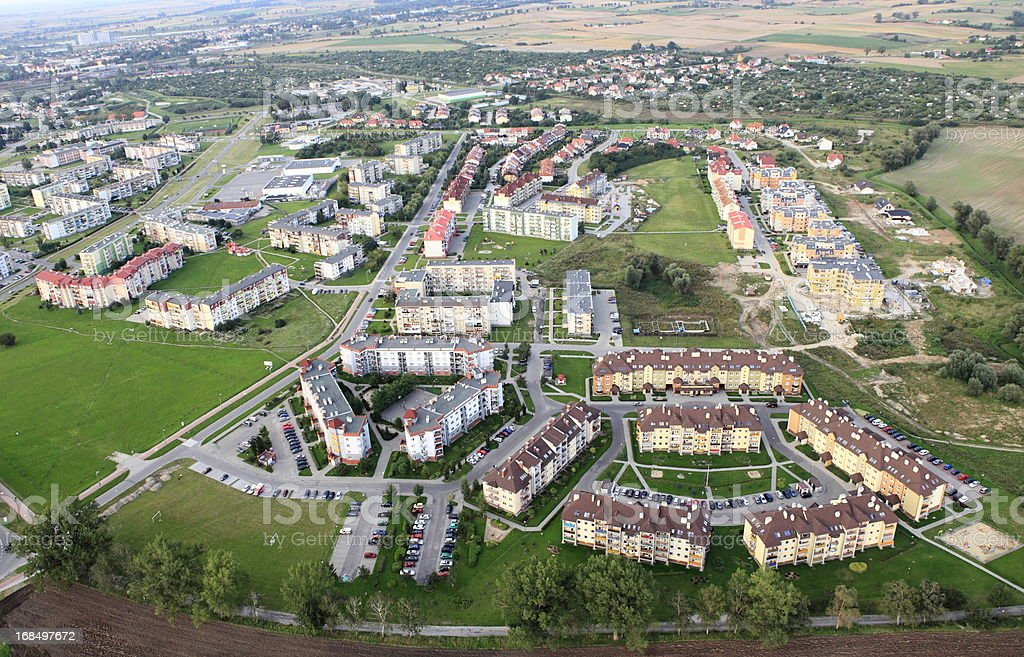 Aerial view of suburban housing development royalty-free stock photo
