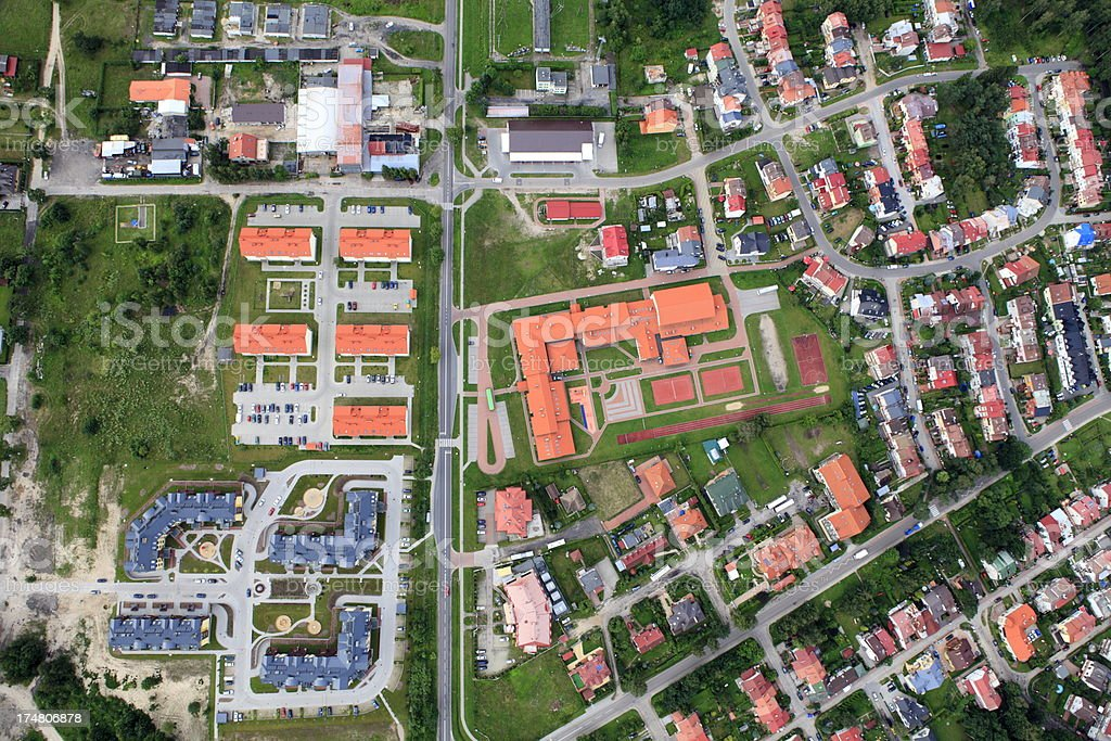 Aerial view of suburban housing development royalty-free stock photo