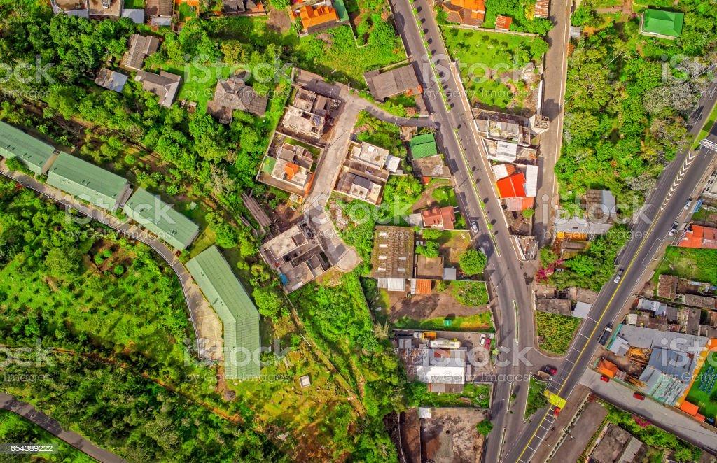 Aerial View Of Suburban Latin American Town, Ecuador stock photo