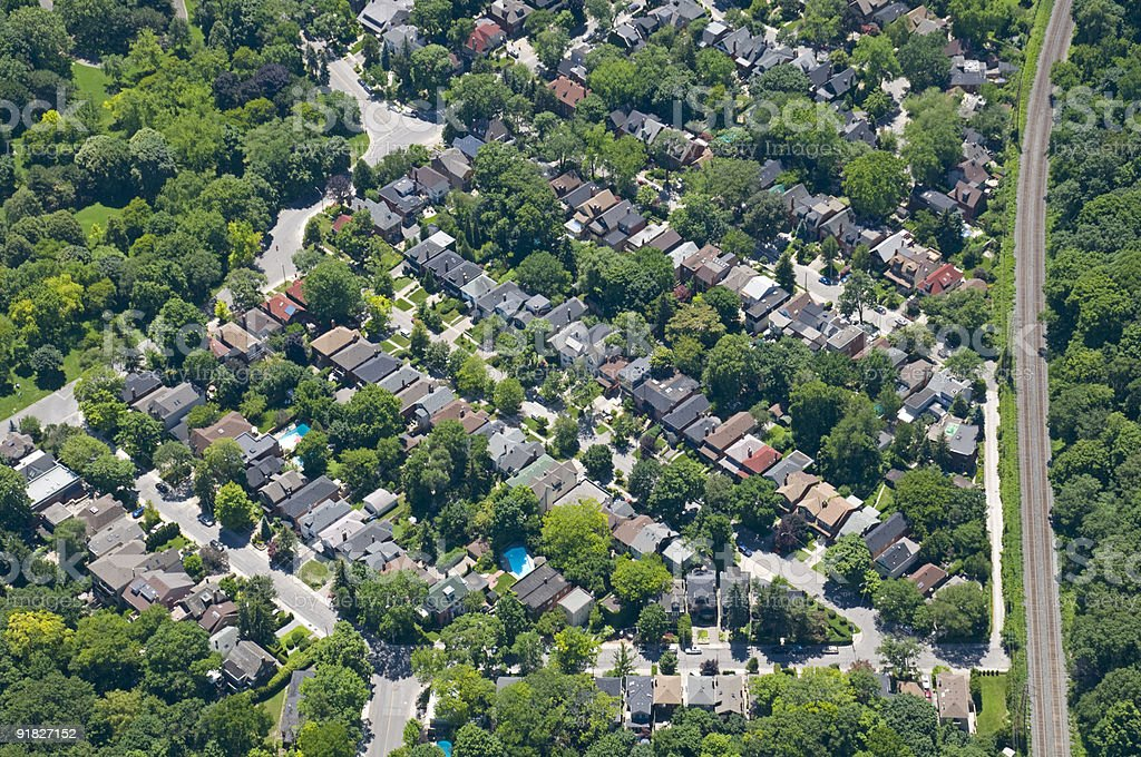 Aerial view of suburbia neighborhood for zoning patterns royalty-free stock photo