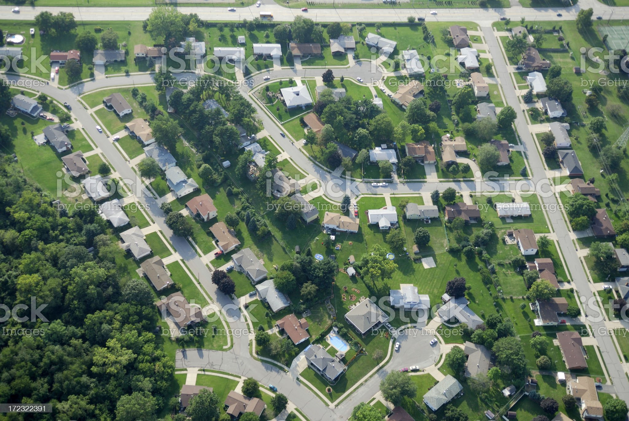 Aerial view of suburbia. royalty-free stock photo