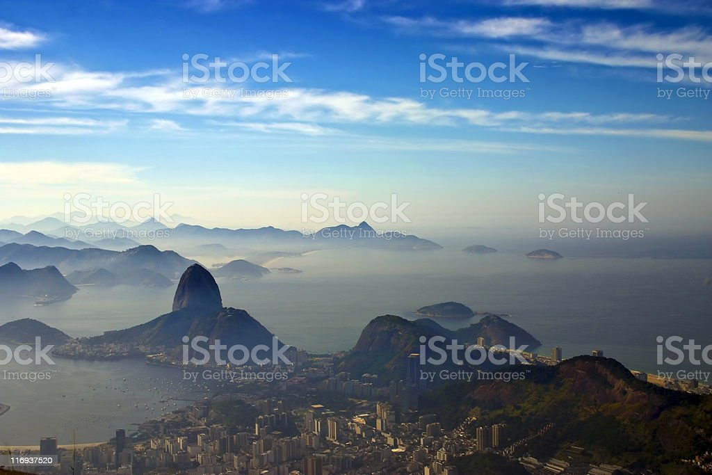 Aerial view of Sugarloaf Mountain in Rio de Janeiro, Brazil royalty-free stock photo