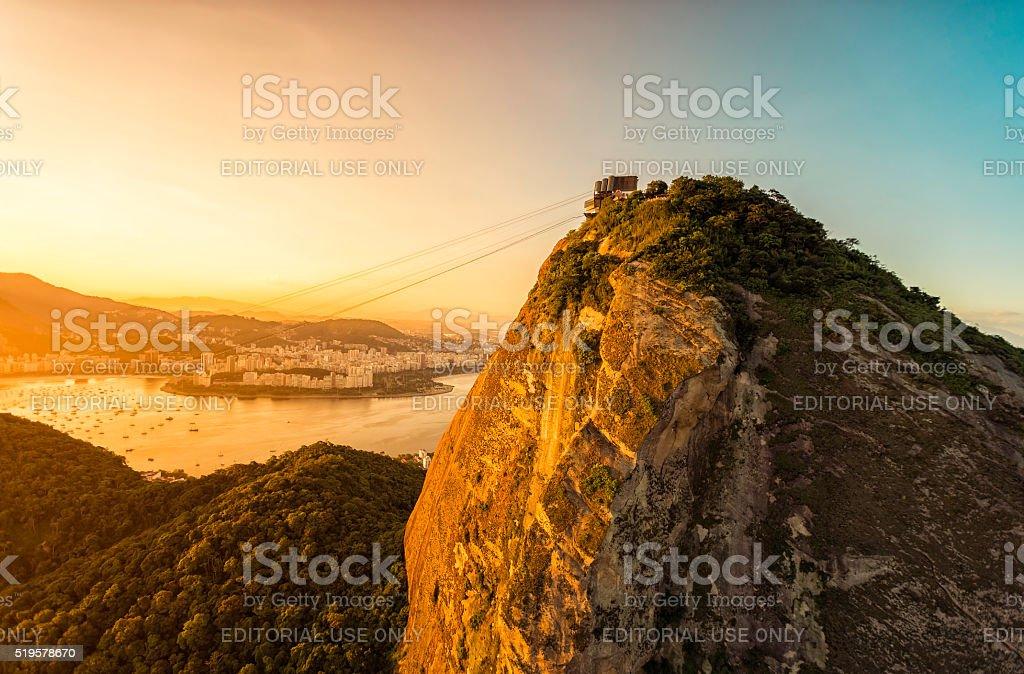Aerial view of Sugarloaf Mountain in Rio de Janeiro stock photo