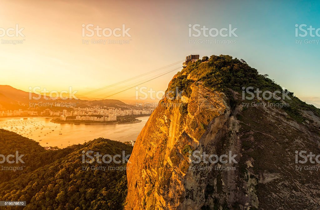 Aerial view of Sugarloaf Mountain in Rio de Janeiro stock photo