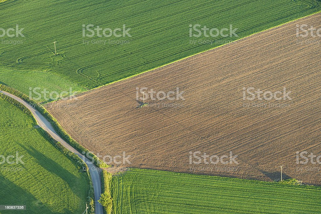 Aerial View of Summer Fields royalty-free stock photo