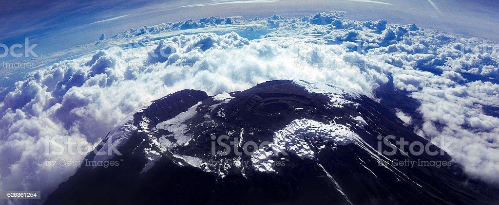 aerial view of summit of Kilimanjaro 1975 stock photo