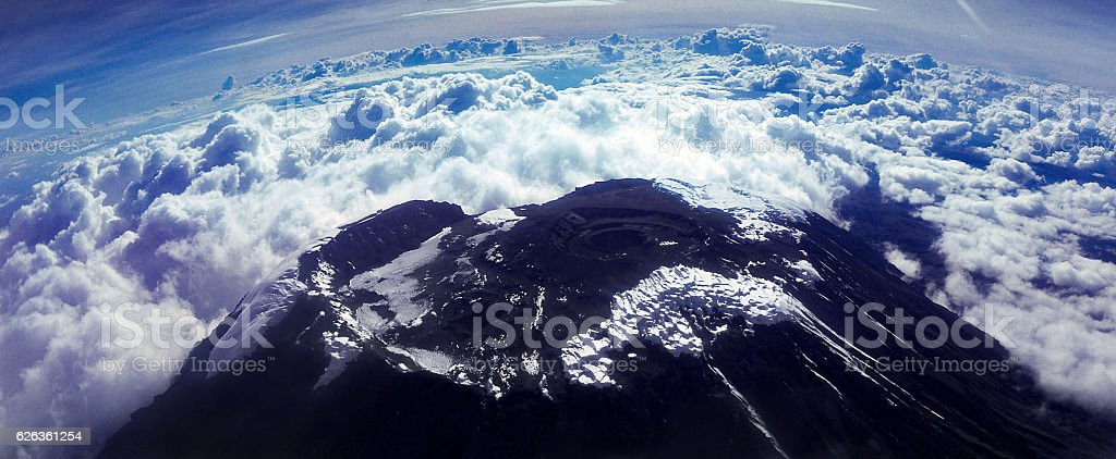 aerial view of summit of Kilimanjaro 1975 stock photo