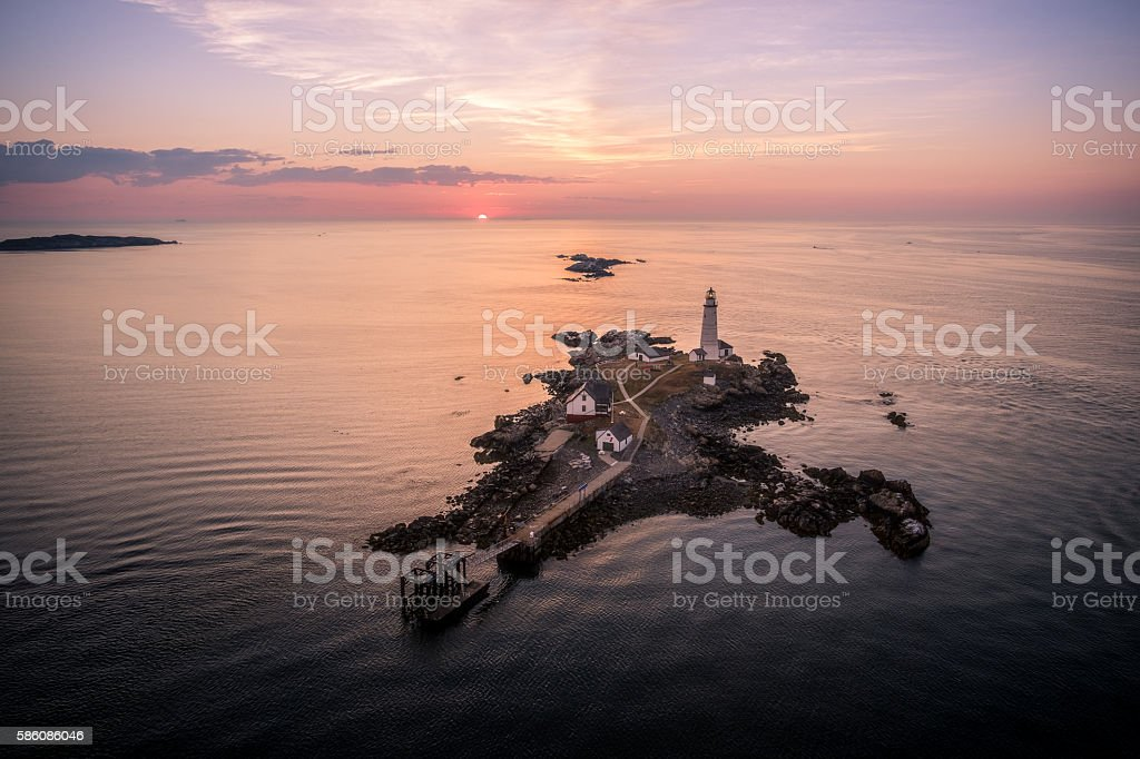 Aerial view of Sunrise at Boston lighthouse stock photo