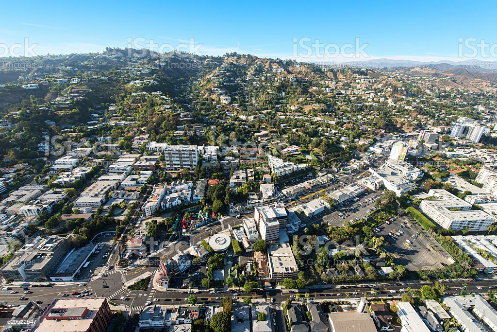 Aerial View of Sunset Boulevard in West Hollywood, California stock photo