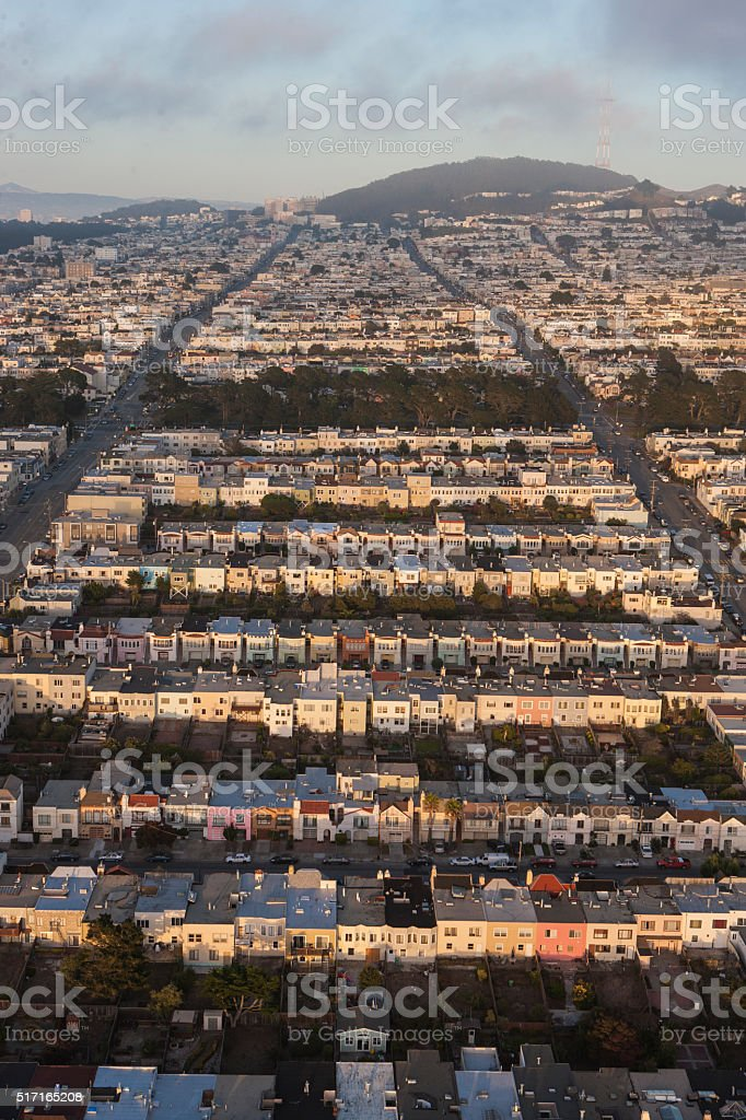 Aerial view of Sunset District towards UCSF San Francisco stock photo