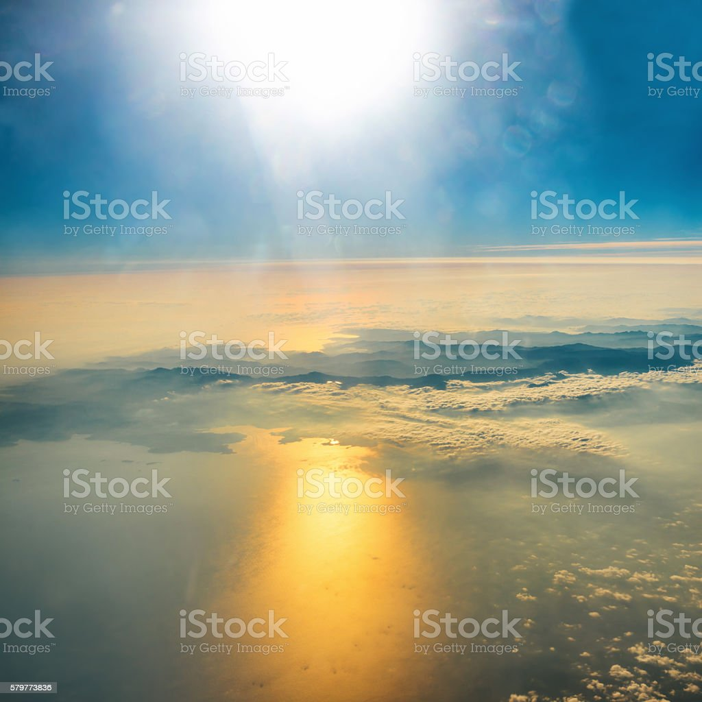 Aerial view of sunset on the sky stock photo