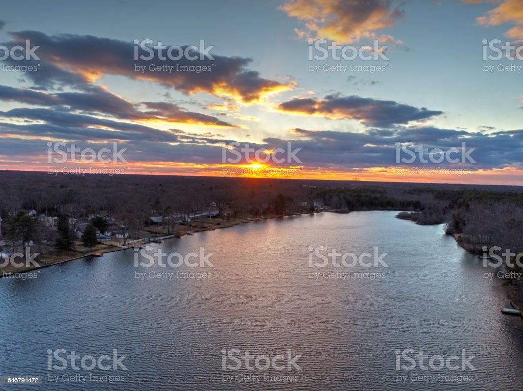 Aerial View of Sunset over a Lake stock photo