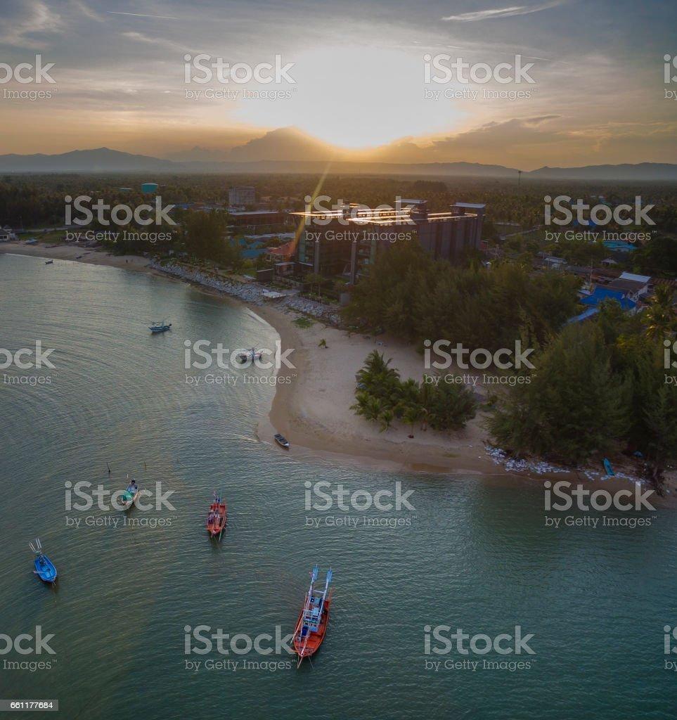 aerial view of sunset sky at klong warn prachuap khiri khan southern of thailand stock photo