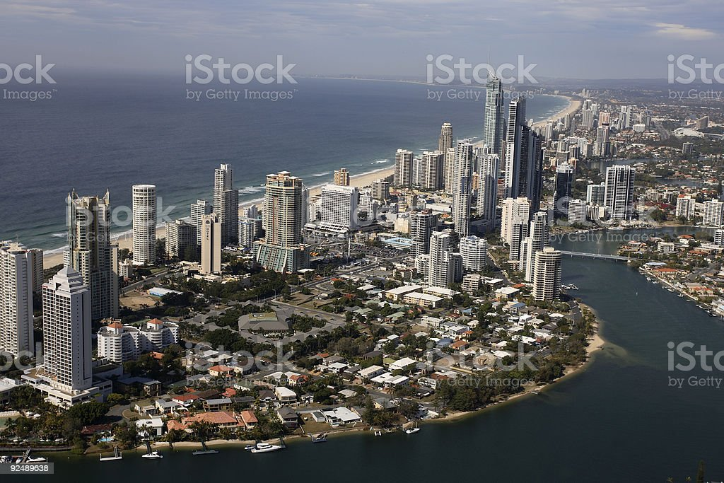 Aerial view of Surfers Paradise, Gold Coast stock photo