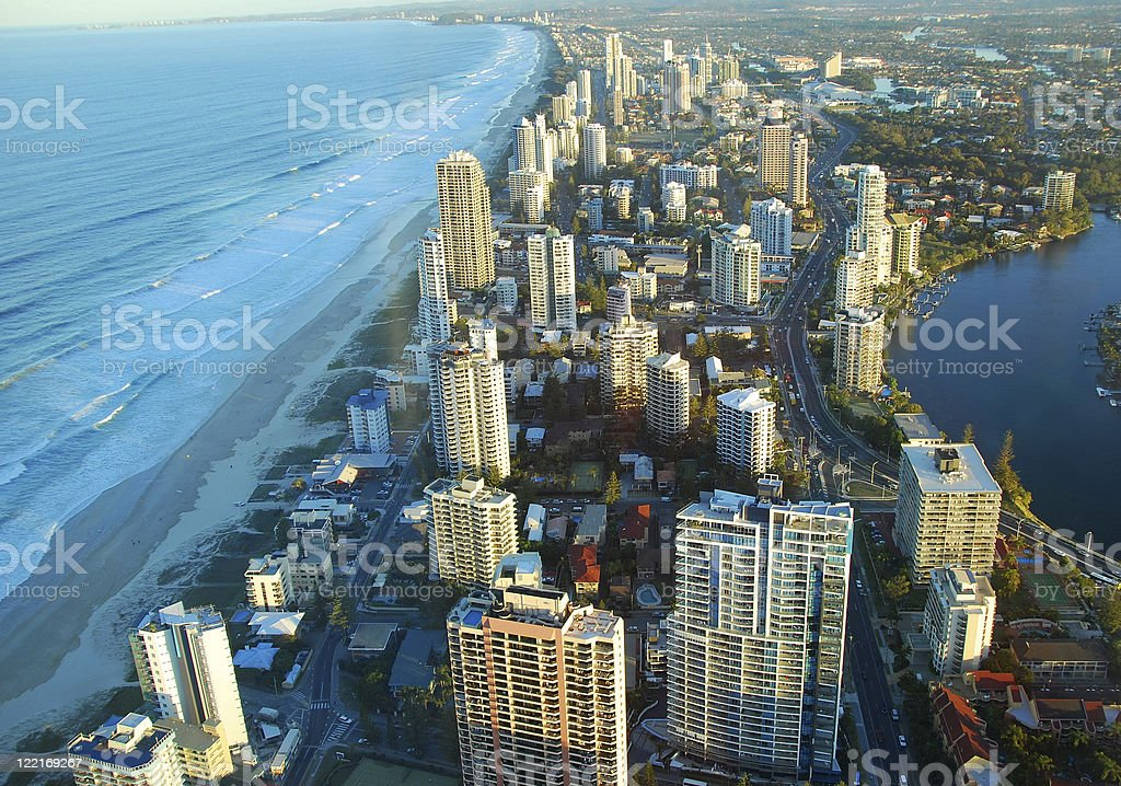 Aerial View of Surfers Paradise,Gold Coast,Queensland,Australia, Coastline royalty-free stock photo