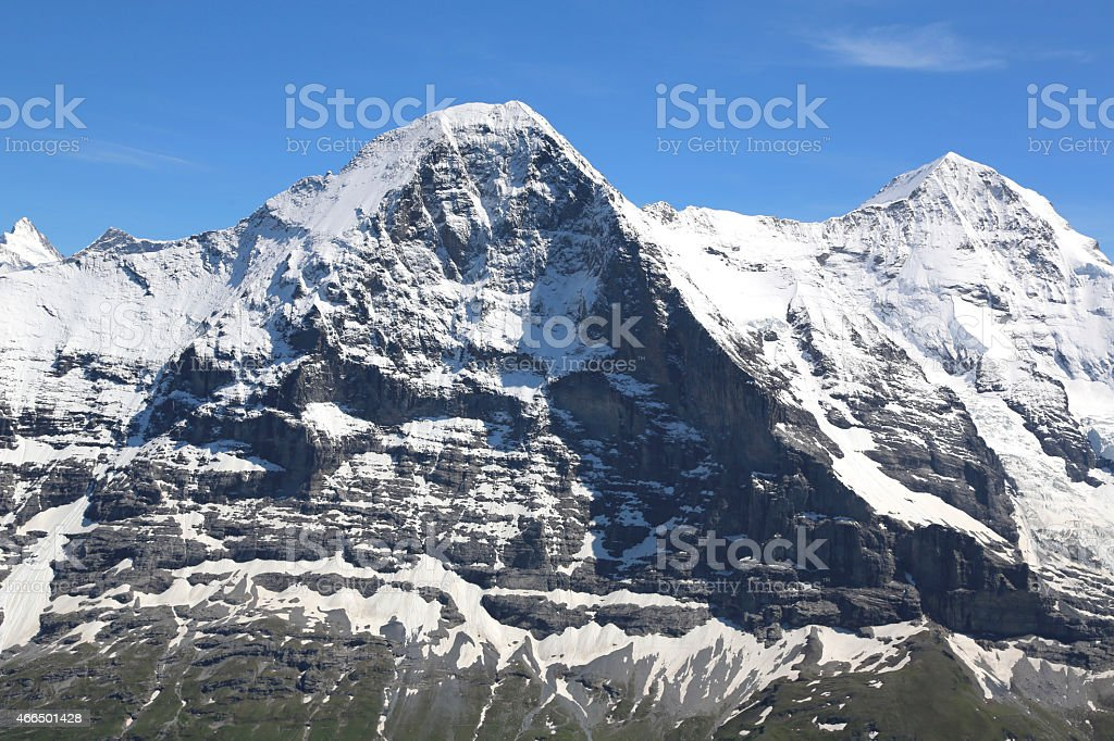 Aerial view of Swiss Alps and Eiger, North Face stock photo