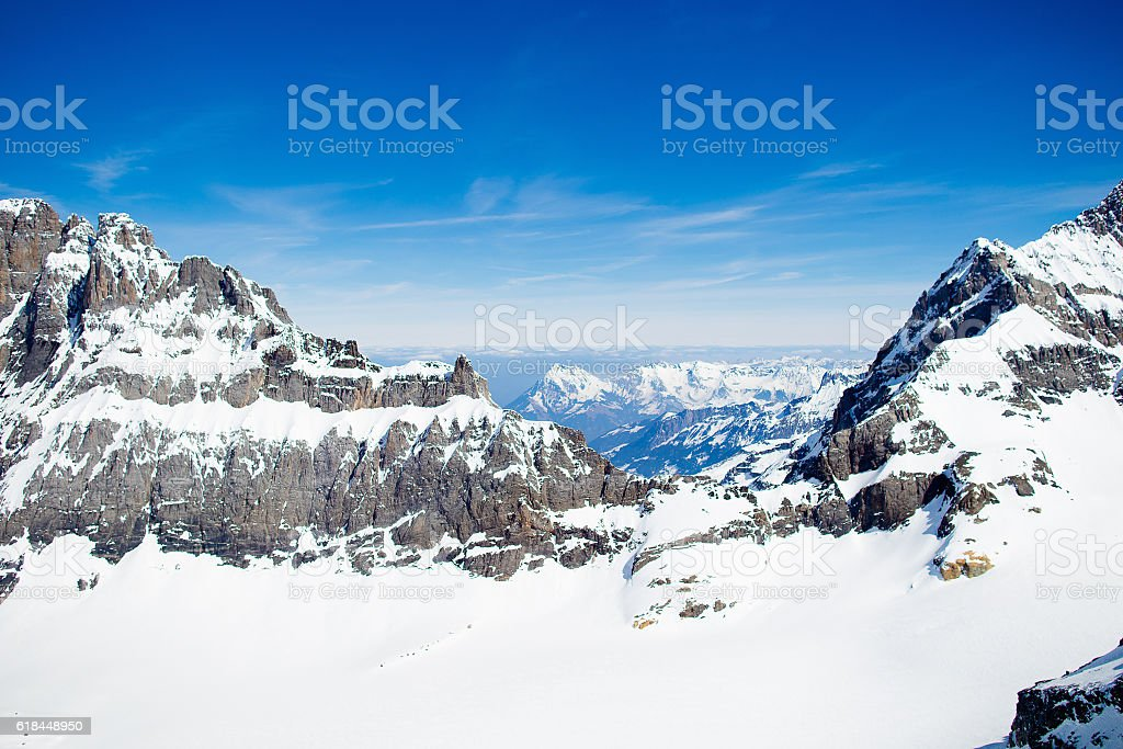Aerial view of Swiss Alps rom helicopter stock photo