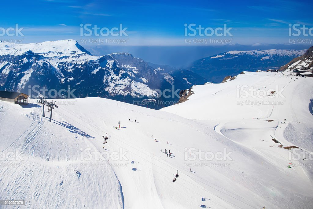 Aerial view of Swiss Alps ski facilities stock photo