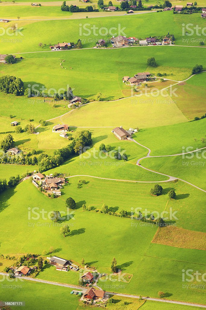 aerial view of switzerland stock photo