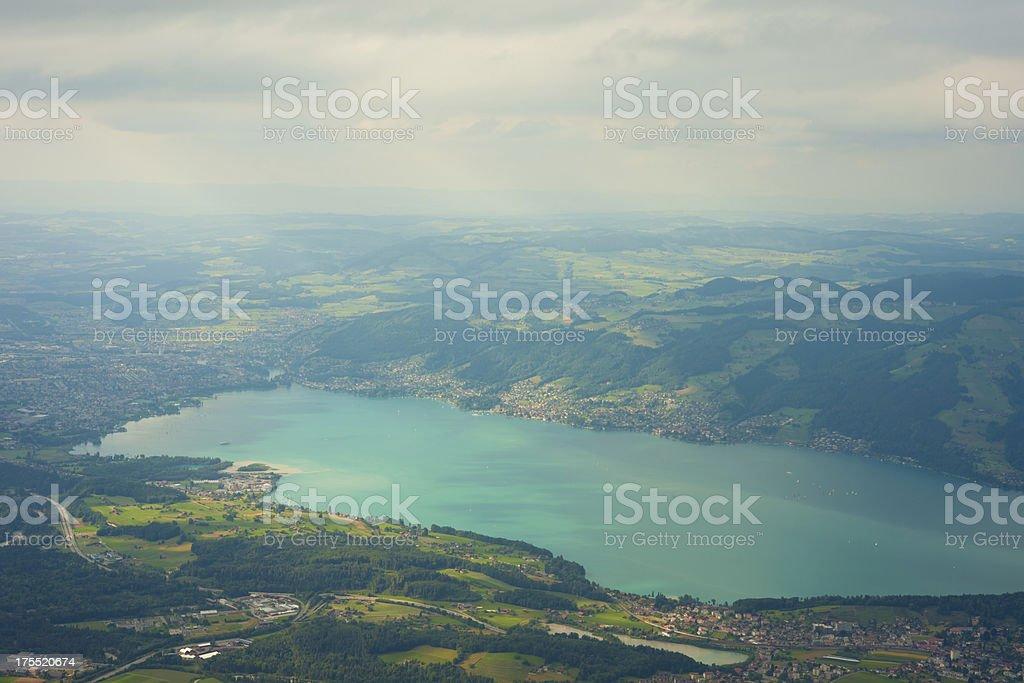 aerial view of switzerland stock photo