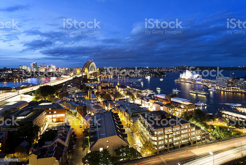 Aerial View of Sydney at Dusk stock photo