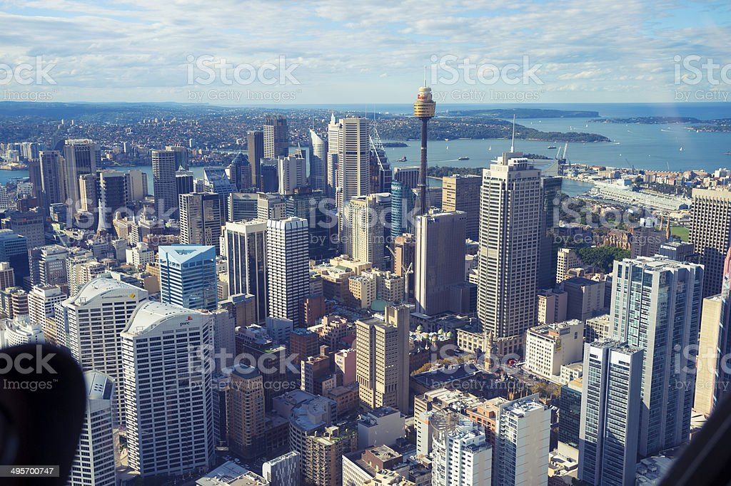 Aerial view of Sydney City Skyline in Australia stock photo