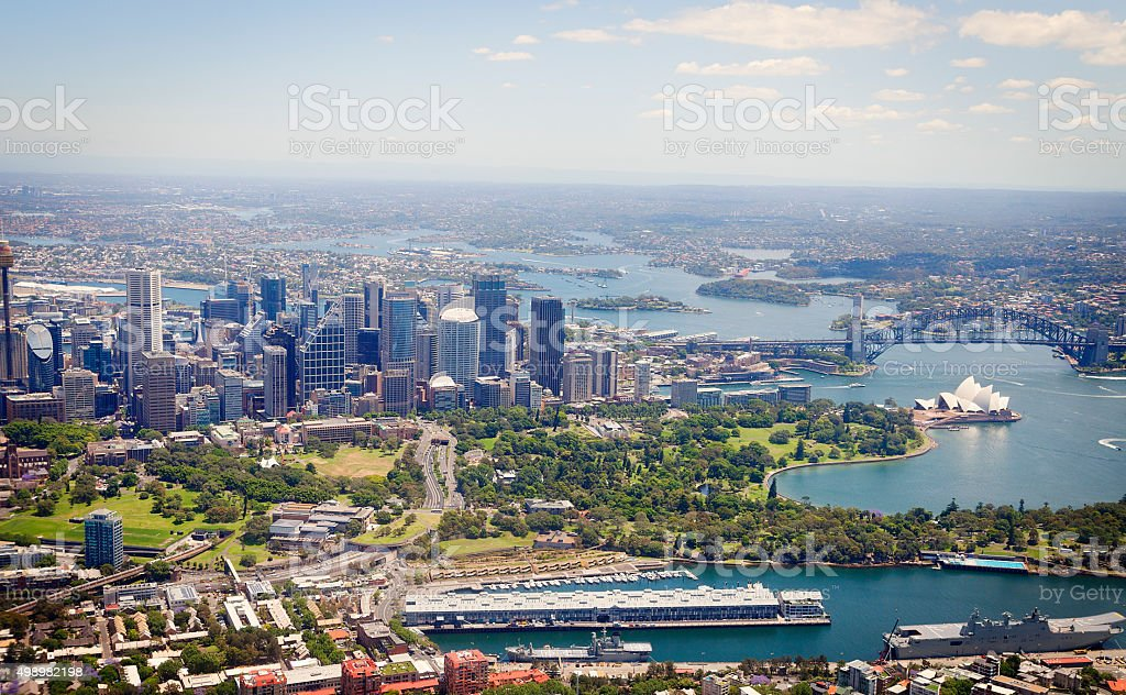 Aerial view of Sydney Harbor and downtown stock photo
