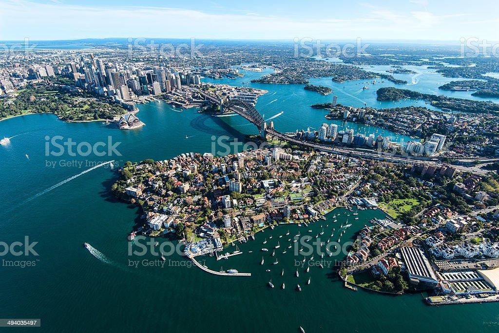 Aerial View of Sydney Harbor in Australia stock photo